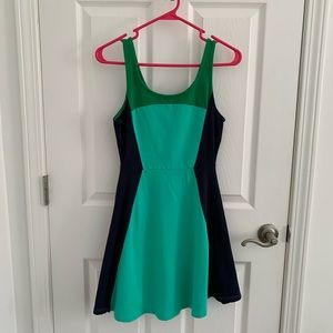 Express Color Block Stretch Cotton Skater Dress